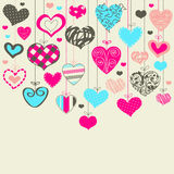 Fondo colorido con los corazones Foto de archivo