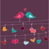 Tarjeta romántica con los pájaros en amor Imágenes de archivo libres de regalías