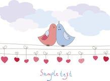 Tarjeta romántica con los pájaros. Ilustración del vector Fotos de archivo