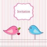 Tarjeta romántica con los pájaros y la cereza libre illustration