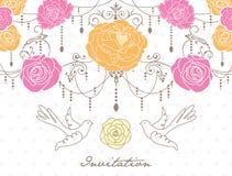 Tarjeta romántica de la invitación Imagen de archivo libre de regalías
