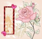 Tarjeta romántica de la invitación con las rosas drenadas mano Foto de archivo