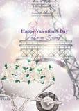 Tarjeta romántica del día de San Valentín con los fondos de la torre Eiffel Foto de archivo