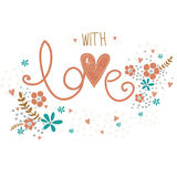 Tarjeta romántica del día de tarjetas del día de San Valentín con el amor de la palabra hecho, las flores, los pétalos, los coraz Foto de archivo libre de regalías