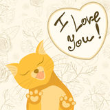Tarjeta romántica linda con el gato blando que lame Imagen de archivo libre de regalías