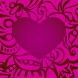 Tarjeta romántica púrpura de la tarjeta del día de San Valentín con el marco rizado Foto de archivo libre de regalías