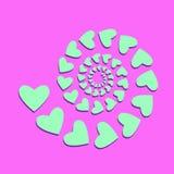 Tarjeta rosada ácida con los corazones de la menta stock de ilustración