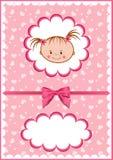 Tarjeta rosada alegre de los bebés. stock de ilustración