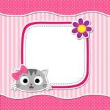 Tarjeta rosada con el gato Imagen de archivo