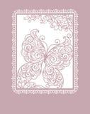 Tarjeta con la mariposa del stylization Imagenes de archivo