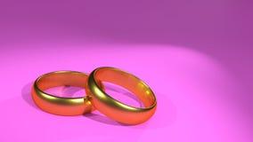 Tarjeta rosada de la invitación de los anillos de bodas Fotos de archivo libres de regalías