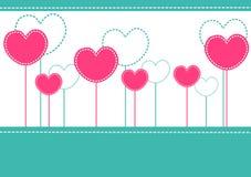 Tarjeta rosada de la invitación de los corazones Imagenes de archivo