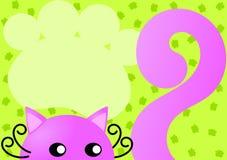 Tarjeta rosada de la invitación del gato Imagen de archivo