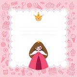 Tarjeta rosada de la princesa Imagen de archivo libre de regalías