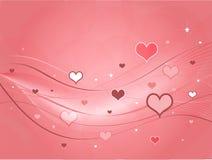 Tarjeta rosada de las tarjetas del día de San Valentín de los corazones Imagen de archivo