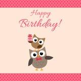 Tarjeta rosada de los búhos del partido Foto de archivo libre de regalías