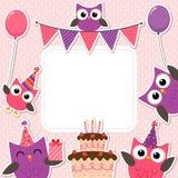 Tarjeta rosada de los búhos del partido stock de ilustración