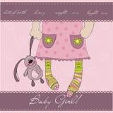 Tarjeta rosada del aviso de la llegada del bebé Fotografía de archivo libre de regalías