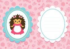 Tarjeta rosada del bebé con el erizo Imagenes de archivo