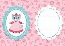 Tarjeta rosada del bebé con el gatito Foto de archivo