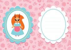 Tarjeta rosada del bebé con la ardilla Fotografía de archivo libre de regalías