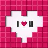 Tarjeta rosada del corazón del mosaico. Imagen de archivo libre de regalías