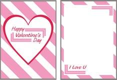 Tarjeta rosada del día de tarjetas del día de San Valentín Imagen de archivo libre de regalías