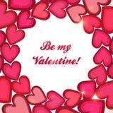 Tarjeta rosada del día de tarjetas del día de San Valentín del vector del círculo de los corazones Imagenes de archivo