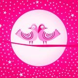 Tarjeta rosada del día de tarjetas del día de San Valentín del amor de los pájaros libre illustration