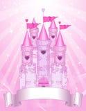Tarjeta rosada del lugar del castillo ilustración del vector