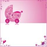 Tarjeta rosada linda del bebé Fotografía de archivo libre de regalías