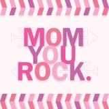 Tarjeta rosada y púrpura del mensaje de la mamá en el fondo blanco stock de ilustración