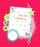 Tarjeta scrapbooking del vector para los puntos del color de rosa de bebé Imagen de archivo libre de regalías