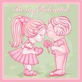 Tarjeta. Sea mi tarjeta del día de San Valentín. siluetas de niños. Fotografía de archivo