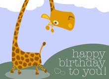 Tarjeta sonriente divertida del feliz cumpleaños de la jirafa libre illustration