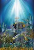 Tarjeta subacuática con los pescados rayados azules Fotos de archivo