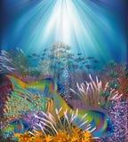 Tarjeta subacuática con los pescados tropicales, vector Foto de archivo