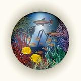 Tarjeta subacuática con la nave vieja, vector Foto de archivo