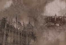 Tarjeta sucia del vintage de Budapest Imagenes de archivo