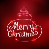 Tarjeta tipográfica de la Feliz Navidad que brilla intensamente Imagen de archivo libre de regalías