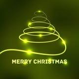 Tarjeta tipográfica de la Feliz Navidad que brilla intensamente Fotos de archivo