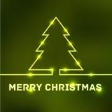 Tarjeta tipográfica de la Feliz Navidad que brilla intensamente Imagenes de archivo