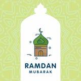 Tarjeta tipográfica de Ramadan Kareem con diseño único stock de ilustración