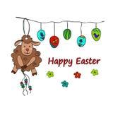 Tarjeta tradicional de los símbolos de Pascua con las ovejas libre illustration