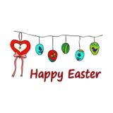 Tarjeta tradicional de los símbolos de Pascua Garabato de Pascua stock de ilustración