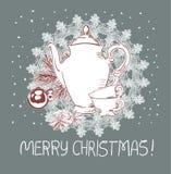 Tarjeta tradicional rosada azul del vector de la Navidad de las tazas de la tetera ilustración del vector