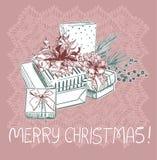 Tarjeta tradicional rosada azul del vector de la Navidad de los presentes stock de ilustración