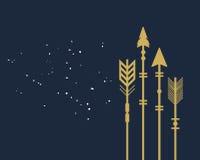 Tarjeta tribal de las flechas del primer del corte de oro de moda abstracto del espacio en blanco libre illustration