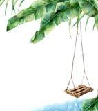 Tarjeta tropical de la acuarela con el oscilación Oscilación pintado a mano del pórtico en la palma del plátano aislada en el fon Imagenes de archivo