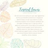 Tarjeta tropical dibujada mano de las hojas de palma Fotografía de archivo